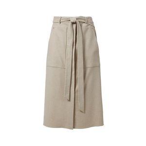 Tibi Wilson Twill Midi Skirt in Oatmeal